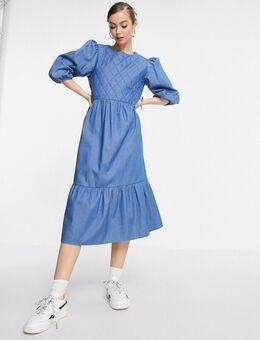 Minty - Aangerimpelde midi jurk van denim in blauw