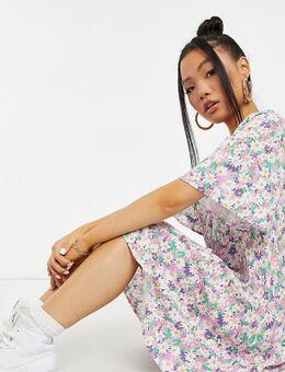 Mini jurk met V-hals en bloemenprint in multi-Meerkleurig