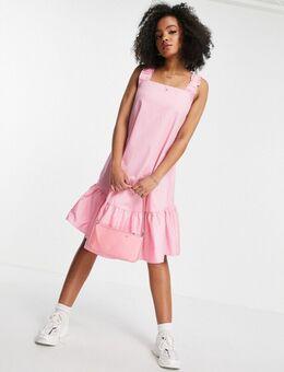 Mouwloze midi-jurk van katoenen poplin in roze