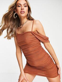Bodycon jurk van mesh met blote schouders in bruin