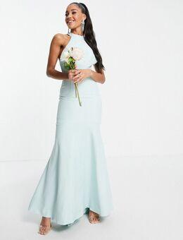 Hooggesloten lange jurk met kant op rug in blauw-Groen