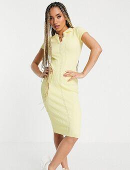 Geribbelde midi jurk met kraag in citroengeel