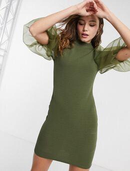 Organza midi-jurk met pofmouwen in kaki-Groen