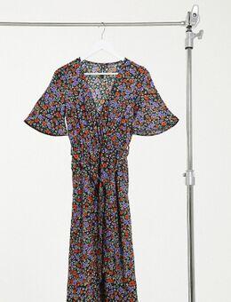 Midi-jurk met overslag aan de voorkant en split in bloemenprint-Multi
