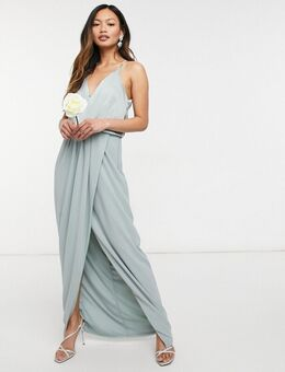 Bruidsmeisjes - Lange satijnen jurk met halternek in saliegroen