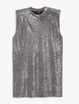 Alvina - Korte T-shirtjurk met schoudervullingen in glitter-Zilver