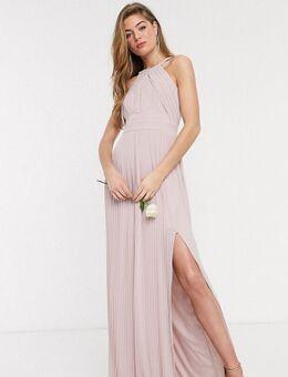 Exclusieve lange geplooide bruidsmeisjesjurk in roze