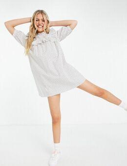 Mini jurk met slabkraag met ruches en stippen-Wit