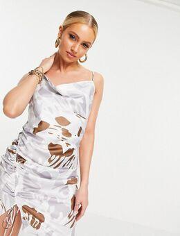 Exclusives - Mini jurk van satijn met gedrapeerde halslijn en marmerprint-Meerkleurig