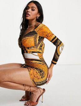 Mini bodycon jurk met rimpeleffect en oranje sjaalprint