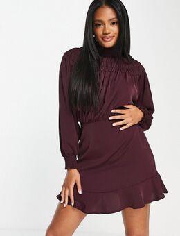 Hoogsluitende mini jurk in pruimkleur-Paars