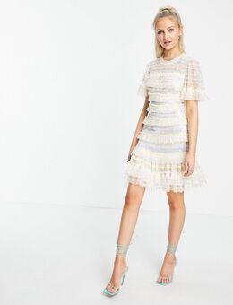 Ariana - Mini jurk met gestreepte pailletten en ruches in ivoor-Wit