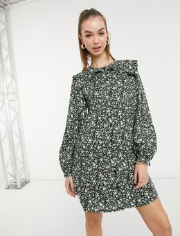 Mini-jurk van biologisch katoen met bloemenprint en kraagje in multi-Meerkleurig