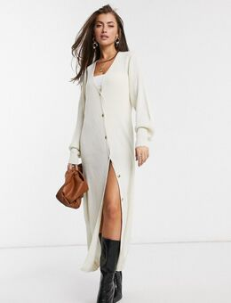 Lange vest-jurk met knopen in crème-Wit