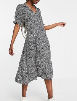 Y.A.S - Tall - Nette midi jurk met ruches in bloemenprint-Meerkleurig