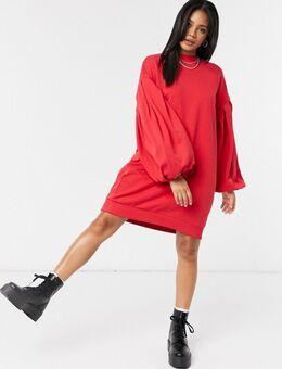 Oversized sweatshirtjurk met ballonmouwen in rood
