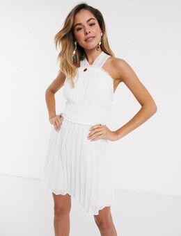 Mini-jurk met halternek, gerimpelde taille en geplooide rok-Wit