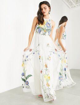 Hoogsluitende maxi-jurk met geborduurde wilde bloemen-Meerkleurig