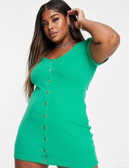 Mini-jurk met knopen in groen