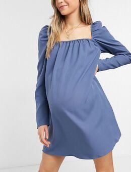 X Dani Dyer - Rechtvallende jurk met pofmouwen en vierkante hals in blauw