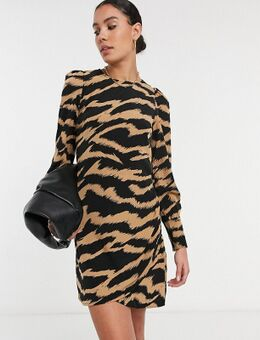 Rechtvallende jurk in bruine zebraprint-Multi