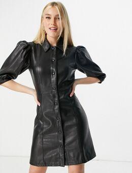 Mini-jurk van PU met pofmouwen in zwart