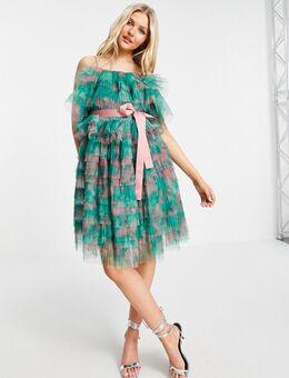 Mini jurk met stroken en blote schouders in groen