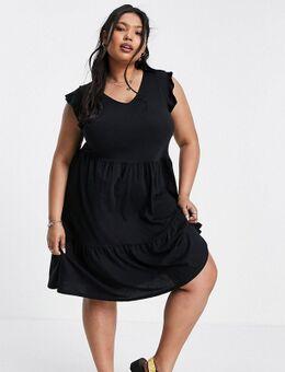 New Look Curve - Aangerimpelde jersey jurk met V-hals en korte mouwen in zwart