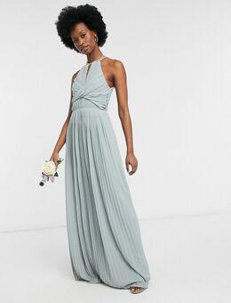 Bruidsmeisjes - Lange geplooide jurk met overslag in saliegroen