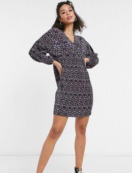 ASOS DESIGN Tall - Plissé mini jurk met lange mouwen, V-hals en fijne bloemenprint in marineblauw