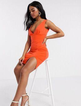 Diepuitgesneden mini-jurk met dijsplit in oranje