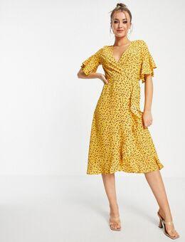 Midi-jurk met overslag, ruches en bloemenprint-Veelkleurig