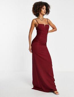 Lange jurk in bordeauxrood