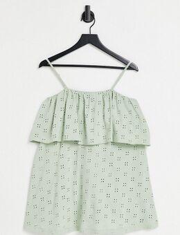 ASOS DESIGN Petite - Mini jurk met lagen, bandjes en broderie in saliegroen