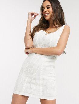 Trui-jurk met kabels in crème