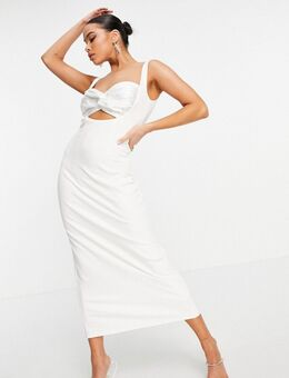 Peekaboo - Satijnen midi jurk met gedraaide buste en dijsplit in ivoor-Wit