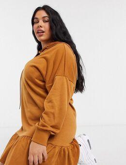 Exclusives - Mini-jurk van sweatstof met ruches en capuchon in lichtbruin