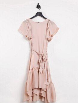 Satijnen midi-jurk met strook langs zoom in beigeroze