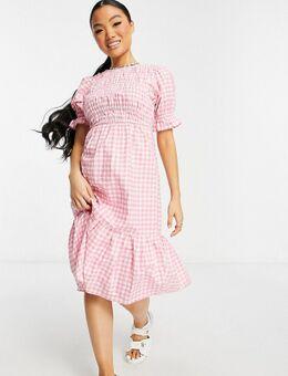 Influence Petite - Midi-jurk in roze ginghamruit