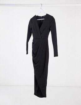 Diepuitgesneden midimaxi-jurk met overslag aan de voorkant in zwart