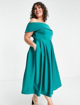 Halflange jurk met omgevouwen bardot hals in smaragdgroen