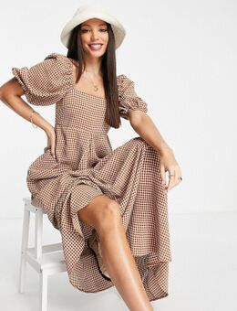ASOS DESIGN Tall - Maxi jurk met A-lijn en bruine gingham ruit-Veelkleurig