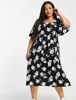Halflange jurk met lage ronde hals en kant aan de achterkant-Veelkleurig