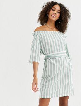 Eleanor - Jurk met blote schouders en pastelkleurige strepen-Groen
