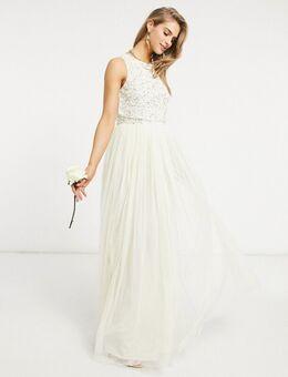 Bruidskleding - Lange 2-in-1 jurk van tule met fijne lovertjes in kleurschakering in ecru-Wit
