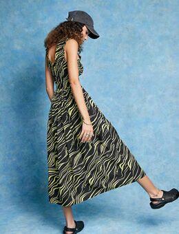 Midi-jurk met zebraprint in zwart en geel