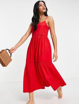 Lange jurk van popeline met stroken in rood