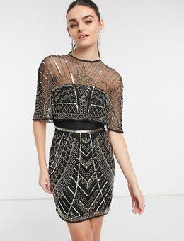 Versierde mini-jurk met cape-Multikleur