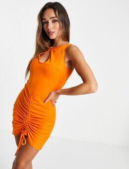 Soepelvallen mini-jurk met keyhole in oranje