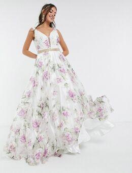 Diepuitgesneden skater maxi-jurk met bloemenprint-Meerkleurig